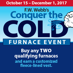 : Buy any TWO qualifying furnaces and earn a customized fleece-lined vest